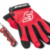 Folding Knife and Large Work Gloves Combo, Red for $11.99