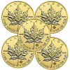 2014 CANADA MAPLE LEAF GOLD 1 OZ LOT OF 5 COINS