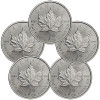Lot of 5 – 2014 Canada 1 Troy Oz .9999 Silver Maple Leaf for $123.99