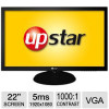 UpStar 22″ Class Widescreen LED Monitor – 1920 x 1080, 16:9, 60Hz, 1000:1 Native, 5ms, VGA, Energy Star (P220YM) for $89…