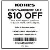 KOHLS $10 off $25 MENS APPAREL & Watches valid 3/1-3/15 .com or store (STACKS with % off Coupons too!)